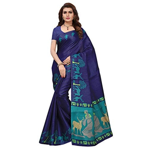 ishin Navy Blue silk Printed Festive Saree With Blouse Piece