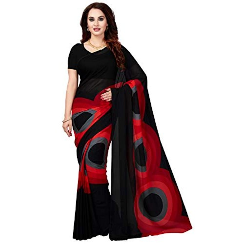 ishin Red&Black Georgette Party Wear Saree with Blouse Piece