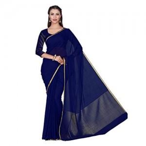 MIMOSA Blue chiffon Festive Saree With Blouse Piece