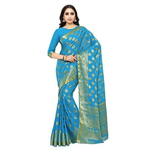 MIMOSA Blue Chiffon  Kanjivaram Festive saree