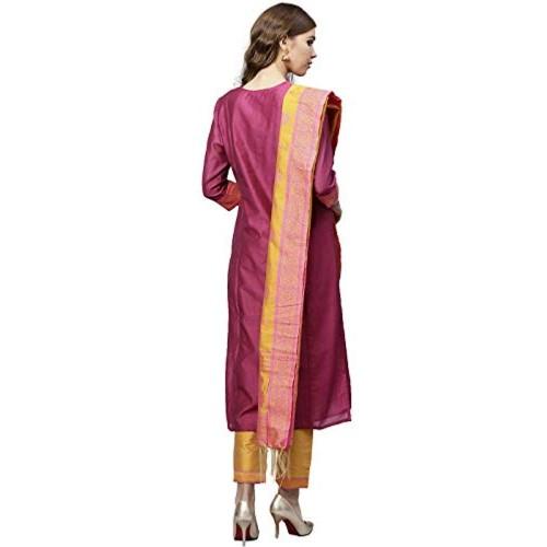 Jaipur Kurti Magenta & Yellow Solid Straight Chanderi Kurta with Pant Dupatta