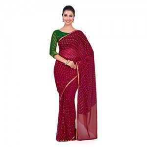 MIMOSA Red&Green Chiffon Printed Festive saree With Blouse Piece