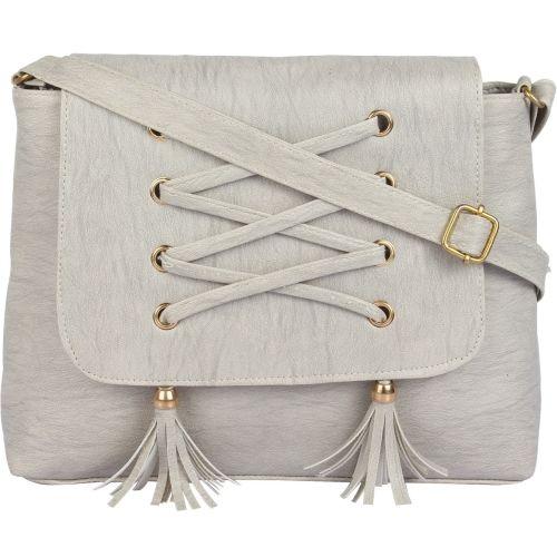 Ankita Fashion World Women's Shoulder, PU Sling Handbag (Grey)