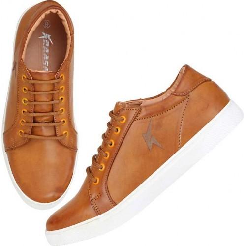 Kraasa Textured Tan Sneakers for Men