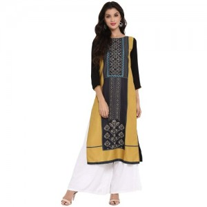 Vaamsi Black Colour Block Crepe Straight Kurta
