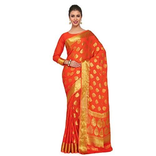 MIMOSA Orange silk Wedding saree  With Blouse Piece