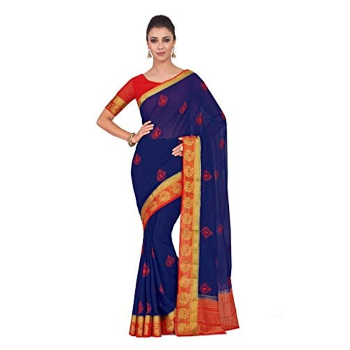 MIMOSA Blue&Red Chiffon Printed Wedding saree With Blouse Piece