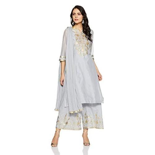 bb1d5b1c5 Buy BIBA Blue Cotton Silk Straight Salwar Suit Set online