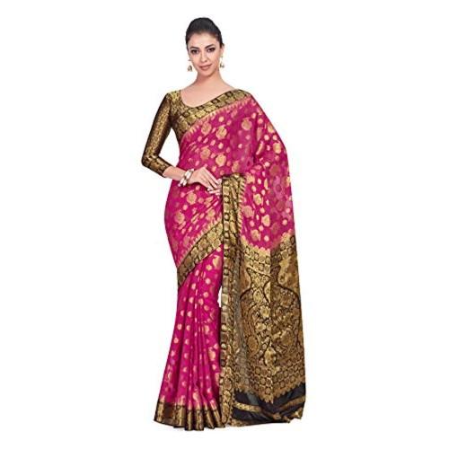 2b2a2267495a8b Buy MIMOSA Pink&Black Chiffon Printed Wedding saree With Blouse ...