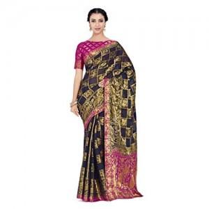 MIMOSA Pink&Blue Chiffon Printed  Wedding saree With Blouse Piece