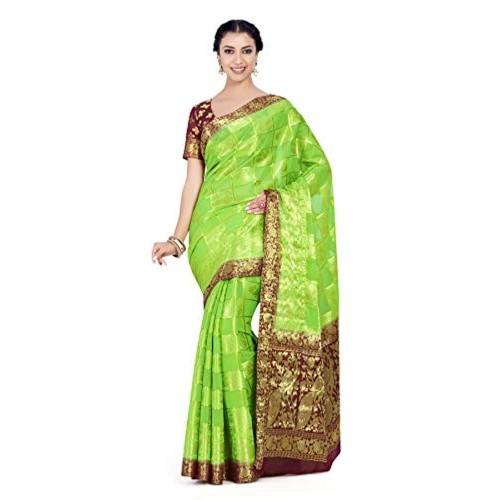 MIMOSA Green Chiffon Checked  Wedding saree With Blouse Piece