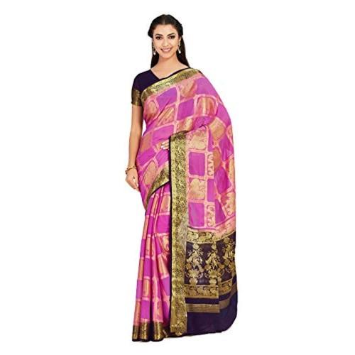 MIMOSA Pink Chiffon checked Festive saree With blouse Piece