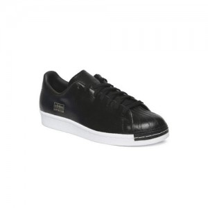 sports shoes 42549 16711 Adidas Originals Men Black SUPERSTAR 80S CLEAN Leather Sneakers