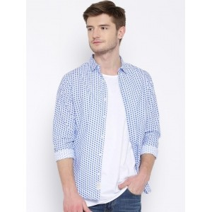 United Colors of Benetton White & Blue Geometric Print Casual Shirt