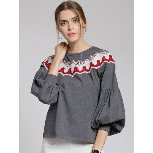 plusS Women Grey & Off-White Embroidered Sweatshirt