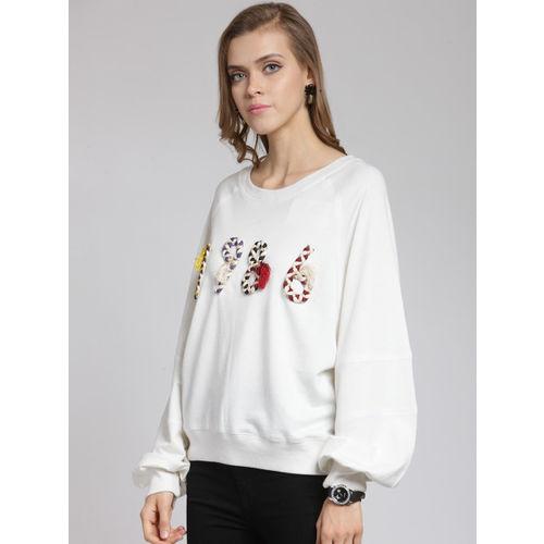 plusS Women Off-White Solid Sweatshirt