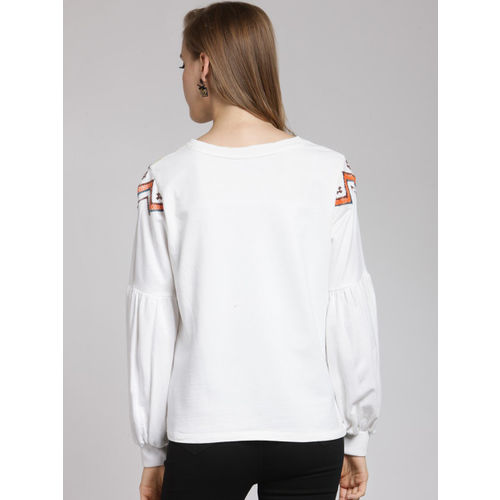 plusS Women Off-White & Orange Embroidered Sweatshirt