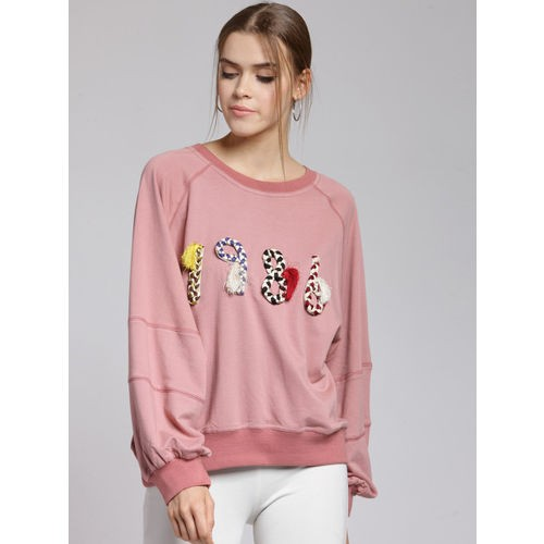 plusS Women Pink Solid Sweatshirt