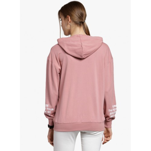 plusS Pink Printed Hoodie Sweatshirt