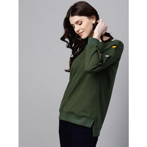 SASSAFRAS Women Olive Green Solid Sweatshirt