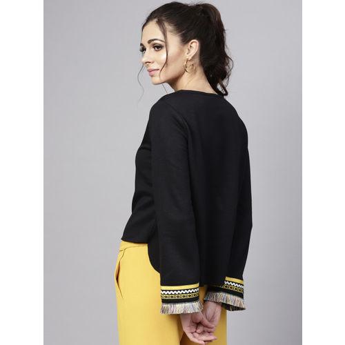 SASSAFRAS Women Black Solid Sweatshirt