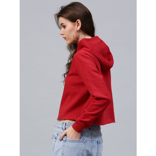 SASSAFRAS Women Red Printed Detail Hooded Crop Sweatshirt