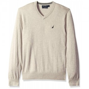 Nautica Grey Wool Long Sleeve Solid Classic V,Neck Sweater