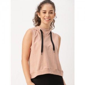 DressBerry Move Women Pink Solid Hooded Sweatshirt