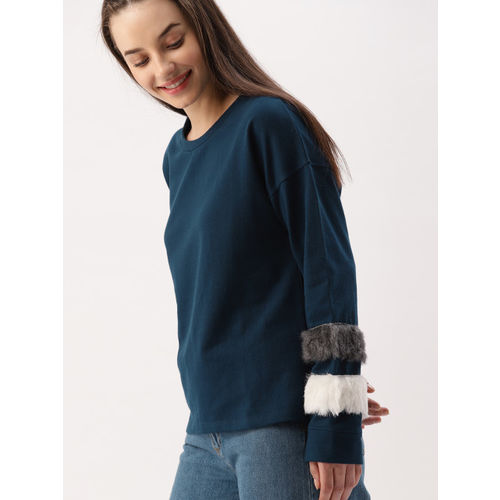 DressBerry Women Blue Solid Fur Sweatshirt