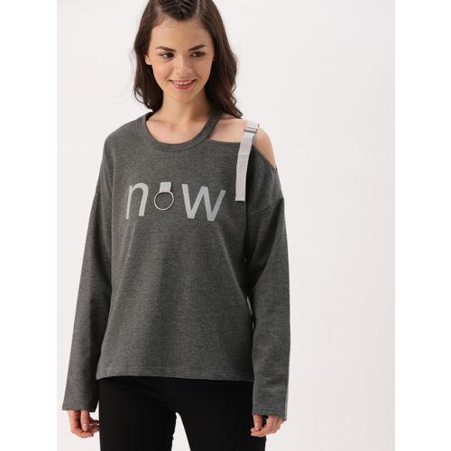 DressBerry Women Grey Printed Sweatshirt