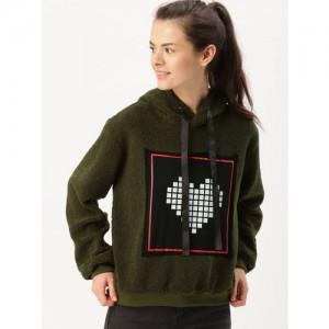 DressBerry Women Olive Green & Black Printed Hooded Sweatshirt
