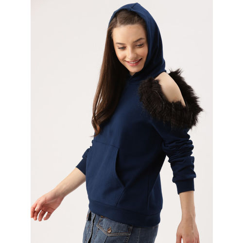 DressBerry Women Navy Blue Solid Hooded Sweatshirt