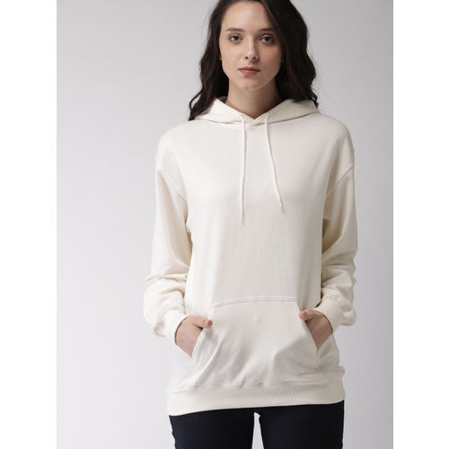 FOREVER 21 Women Off-White Solid Hooded Sweatshirt