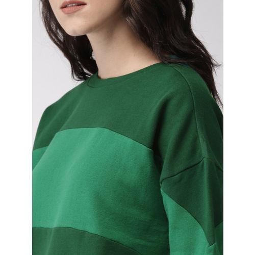 FOREVER 21 Women Green Colourblocked Sweatshirt