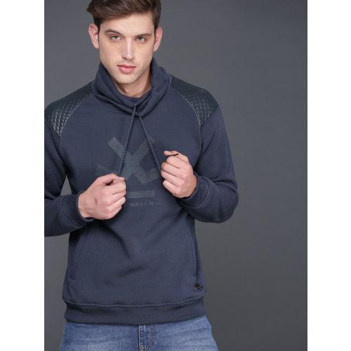 WROGN Men Navy Blue Printed Hooded Sweatshirt