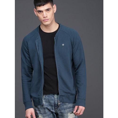 WROGN Men Navy Blue Solid Sweatshirt