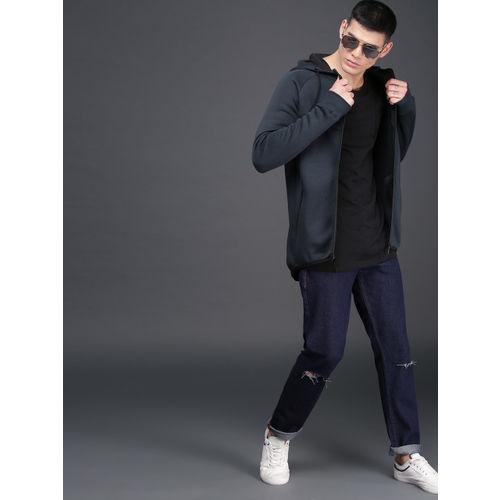 WROGN Men Navy Blue Solid Hooded Sweatshirt