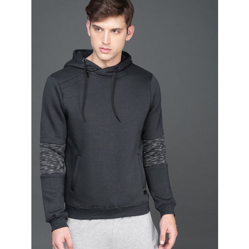 WROGN Men Navy Blue Solid Hooded Sweatshirt