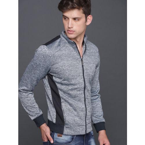 WROGN Men Navy & Grey Solid Sweatshirt