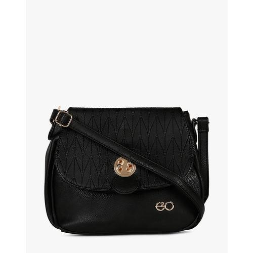 E2O Black Polyurethane Textured Sling Bag