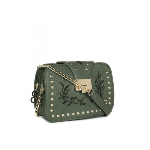 E20 Green Embroidered Sling Bag with Metallic Embellishments