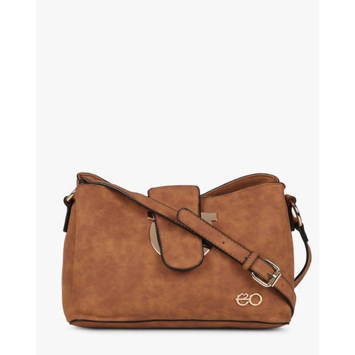 E20 Brown Textured Sling Bag with Adjustable Strap