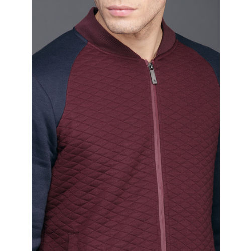 WROGN Men Maroon Solid Sweatshirt