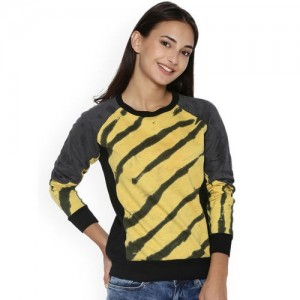 Campus Sutra Women Yellow Printed Sweatshirt