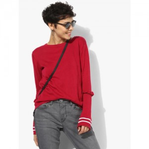 ONLY Pink Solid Round Neck Sweaters