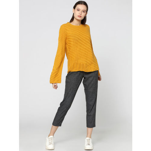 ONLY Yellow Solid Sweater