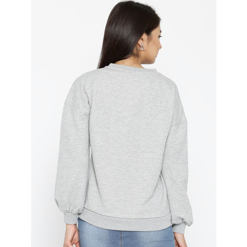 ONLY Women Grey Melange Solid Sweatshirt