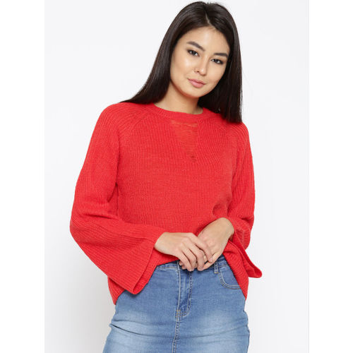 ONLY Women Red Ribbed Pullover