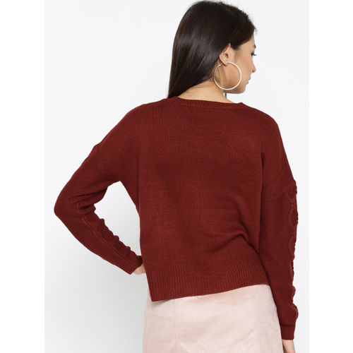 ONLY Women Rust Brown Self-Design Sweater