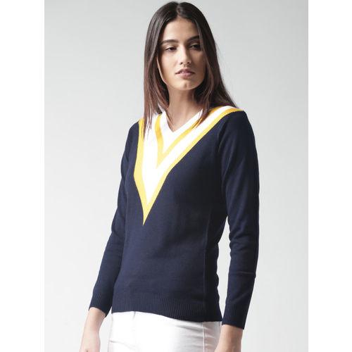 Harvard Women Navy Blue & White Solid Pullover